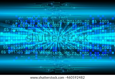 blue abstract cyber future technology concept background, illustration, circuit, binary code. move motion speed