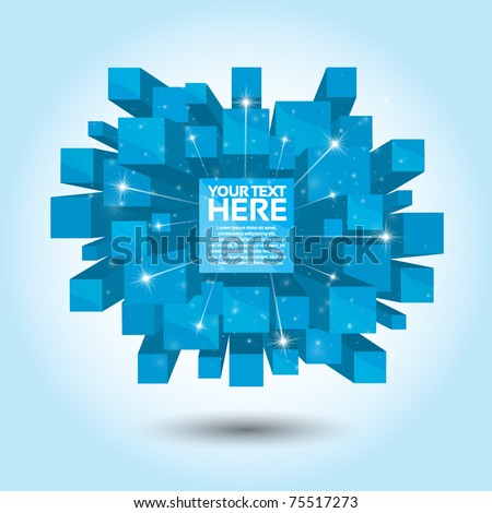Blue Abstract 3D Background - stock vector
