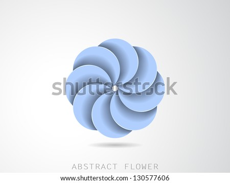blue abstract flower icon - stock vector