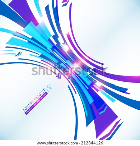 Blue abstract futuristic perspective arc vector background - stock vector