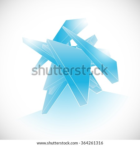 blue abstract gem shard crystal icon logo vector template