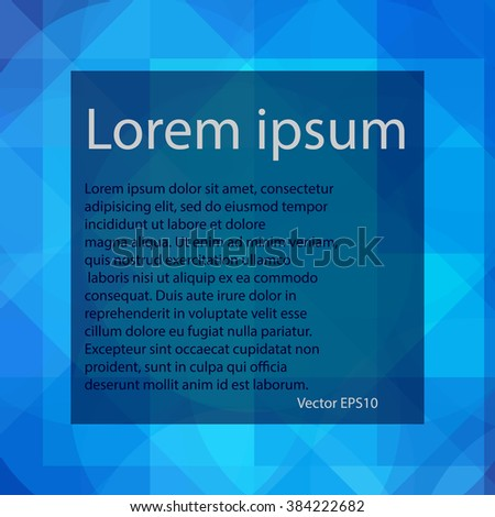 Blue abstract, geometric background for your text with circle and rhombuses, vector EPS 10