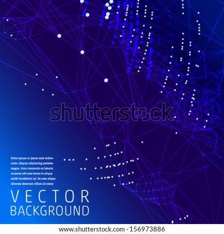 Blue Abstract Mesh Background with banner and card. Vector.