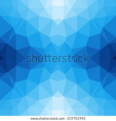 Blue abstract polygonal triangle mosaic pattern background  - stock vector