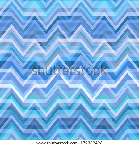 Blue Abstract Retro Vector Striped Background, Fashion Zigzag Pattern of Colored Stripes - stock vector