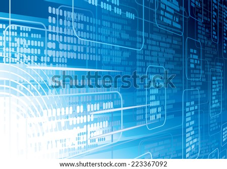 Blue abstract techno background. Eps8. CMYK. Organized by layers. Global colors. Gradients used. - stock vector