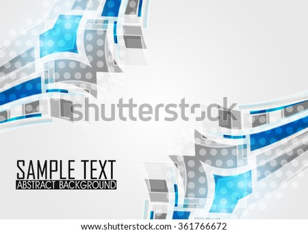 Blue abstract template for card or banner. Metal Background with waves and reflections. Business background, silver, illustration. Illustration of abstract background with a metallic element. Vector
