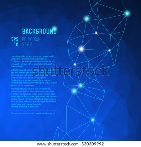 Blue abstract triangle background looks like starry sky with bright dots on fond vector illustration