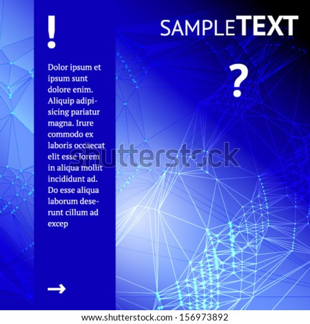 Blue Abstract Triangles Background for your text. Vector. - stock vector