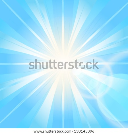 Blue abstract vector background with burst - stock vector