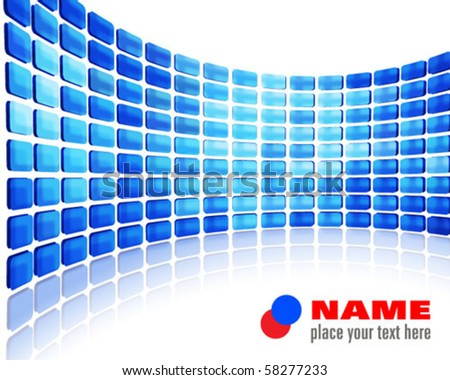 blue abstract wall - stock vector
