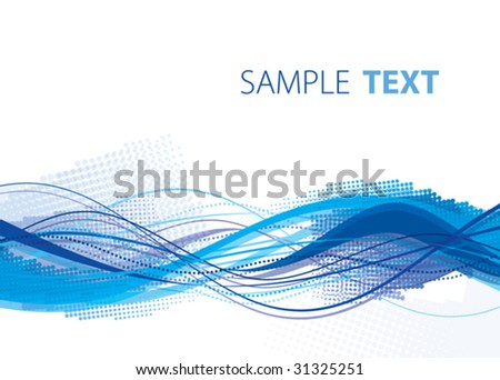 Blue abstract wave. Vector