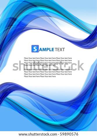 Blue abstract wavy vector design - stock vector