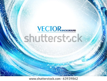 Blue abstract winter card. Vector