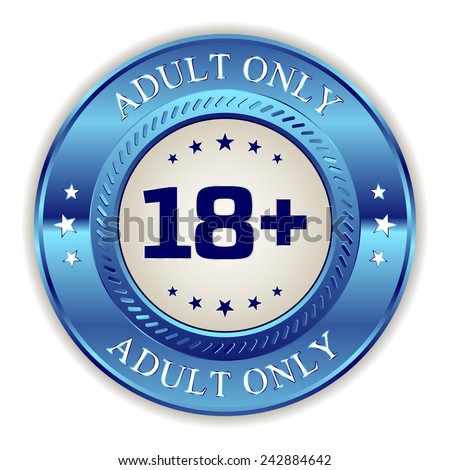 Blue adult only badge on white background