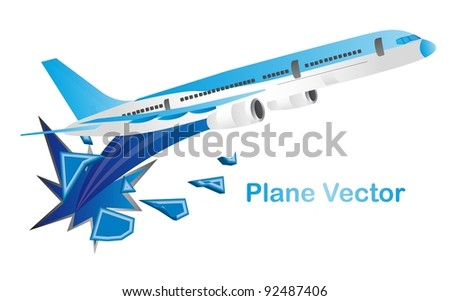 blue aircraft isolated over white background. vector illustration