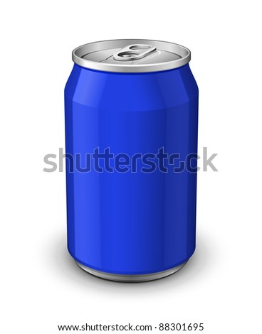 Blue Aluminum Can: Vector Version - stock vector