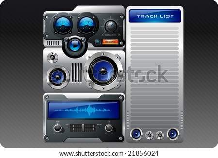 Blue analog retro mp3 player - stock vector