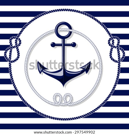 Blue Anchor Emblem With Circle Rope Frames On White And Lines Background Vector Illustration
