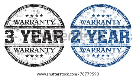 Blue and black grunge rubber stamps with the text three year and two year warranty written inside the stamps - stock vector