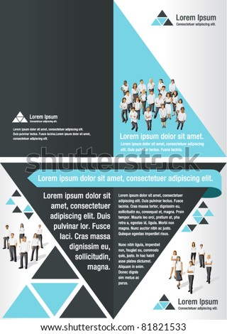 Blue and black template for advertising brochure with business people - stock vector