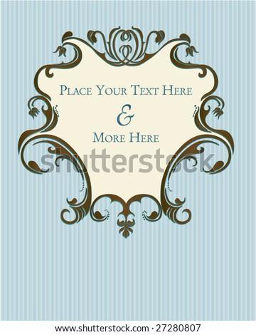 Blue and brown french country floral inspired plaque