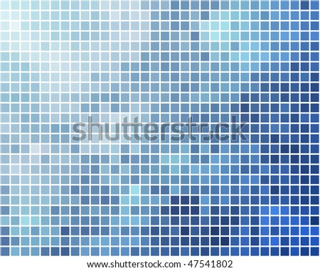 Blue and cyan square mosaic vector background. - stock vector