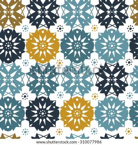 Blue and gold islamic cross, rosette, flower, cross, rose, snowflake, star seamless pattern. Contrasty ornament with isolated traditional oriental geometric floral elements. Seamless pattern design.