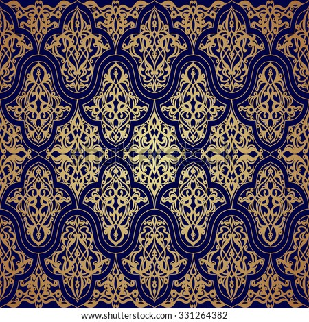 Blue and gold luxury damask seamless motif . Vintage Victorian style pattern.Vector illustration