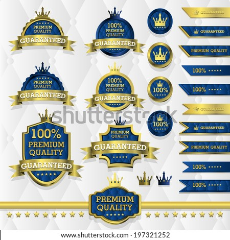 Blue and gold luxury label - stock vector