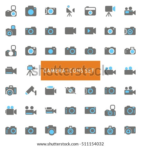 Blue and Gray Camera Icon set. vector icon set