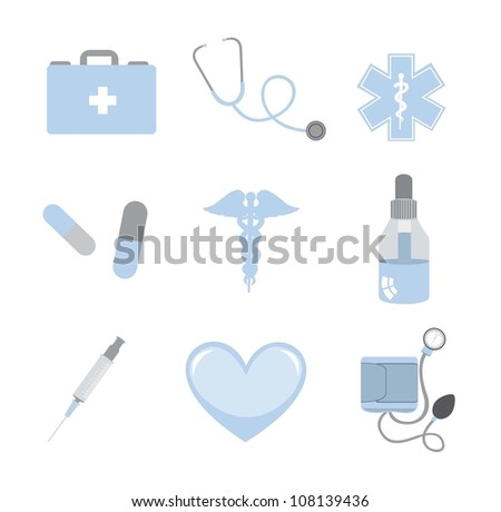 blue and gray medical icons isolated over white background. vector - stock vector