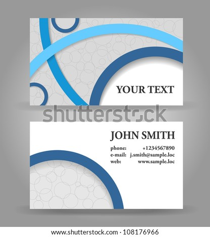 Blue and gray modern business card template. - stock vector