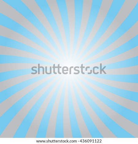 Blue and gray rays poster. Popular ray star burst background television vintage. Blue-gray abstract texture with sunburst, flare, beam. Retro art design. Sun glow bright pattern Vector Illustration - stock vector