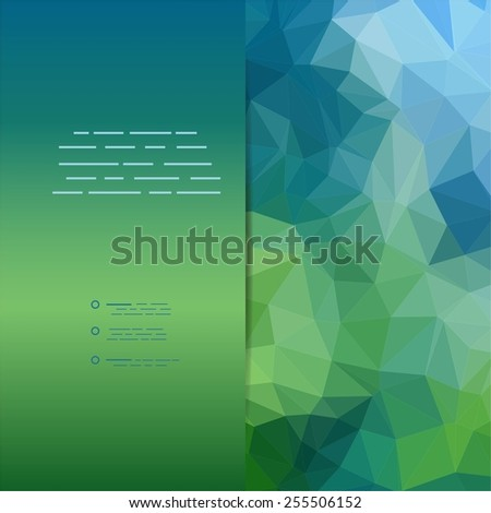 Blue and green abstract geometric rumpled triangular low poly style vector illustration graphic background - stock vector