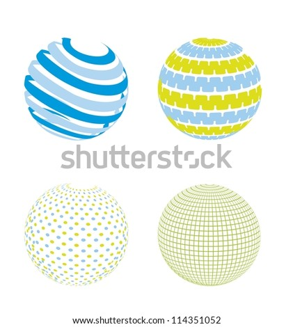 blue and green abstract sphere, planet. vector illustration - stock vector