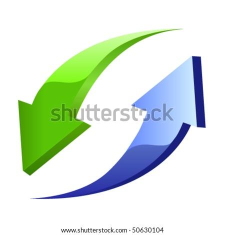 Blue and green arrow - stock vector