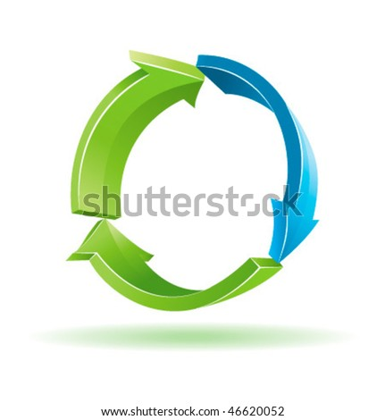 Blue and green 3d vector arrows