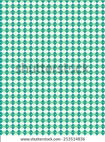 Blue and green diamond pattern over white background - stock vector
