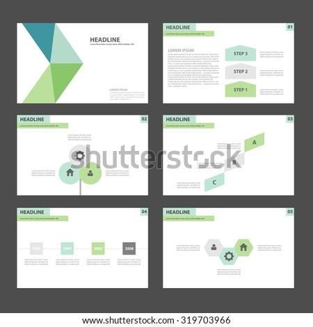 Blue and green Infographic elements presentation template flat design set for brochure flyer leaflet - stock vector