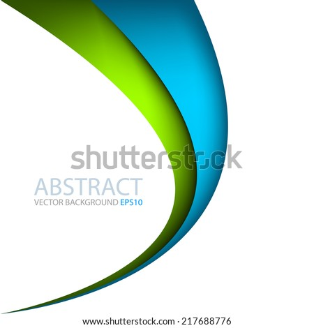 Blue and green line curve gradient background on white color background layer paper overlap for text and message modern artwork design - stock vector