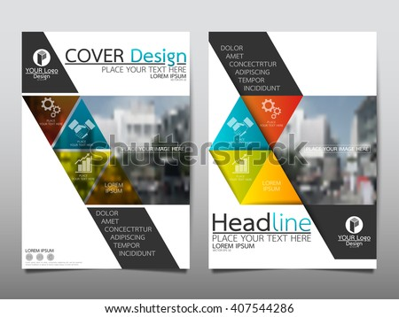 Blue and green square annual report brochure flyer design template vector, Leaflet cover presentation abstract flat background, layout in A4 size - stock vector