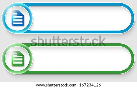 blue and green vector abstract buttons with notes icon - stock vector