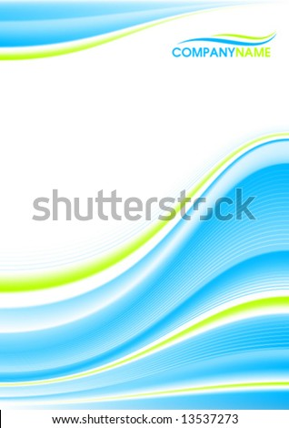 Blue and green wave, mesh gradient - stock vector