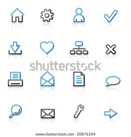 Blue and grey contour basic web icons - stock vector
