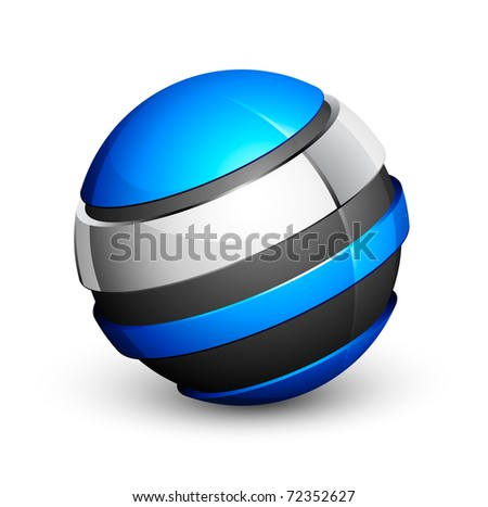 blue and grey sphere icon - stock vector