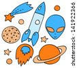 Blue and orange space elements collection on white - spaceship, planets, stars, alien, vector - stock vector