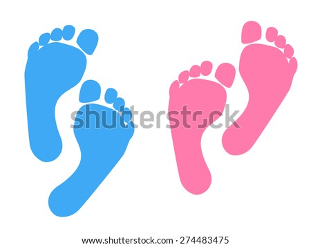blue pink baby footprint vector illustration stock vector
