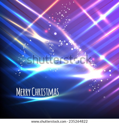 Blue and purple Christmas card. Abstract striped background with light effects. Vector illustration.