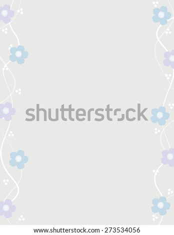 Blue and purple flowers pattern over gray color background - stock vector